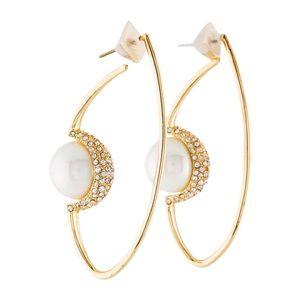 ALEXIS BITTAR Crystal Pearl Orbiting Hoop Earrings